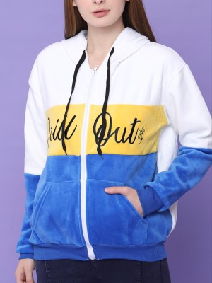 Faux Fur Chill Out Panel Colors Zip Up Hoodie Jacket