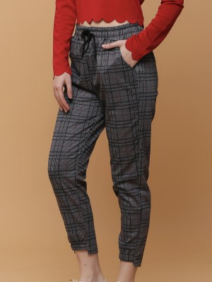Grid Checkered Drawstring Pants