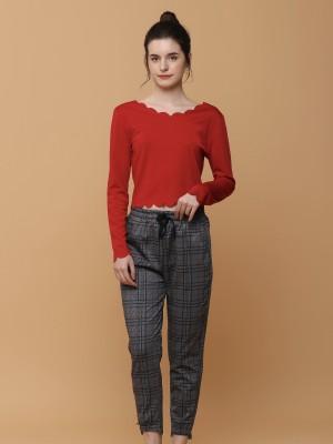 Grid Checkered Drawstring Pants