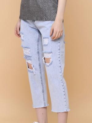 Ripped Boyfriend Anklet Jeans