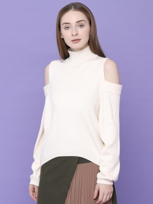 Cold Shoulder High Neck Knitted Top