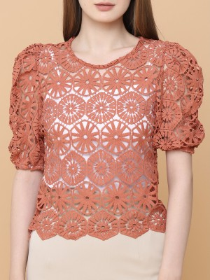 Full Embroidered Puff Sleeves Top