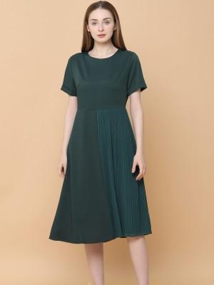 Part Pleats Long Dress