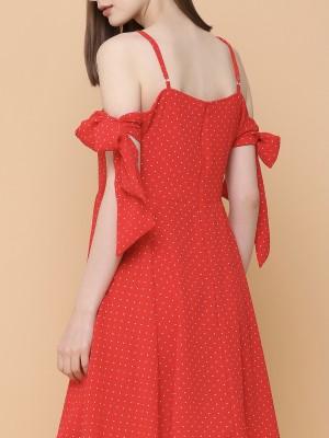 Dotty Spaghetti Tied Dress