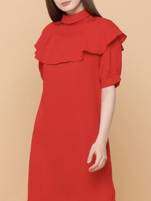 Neck Top Ruffles Dress
