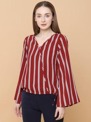 Stripes V Neck Top