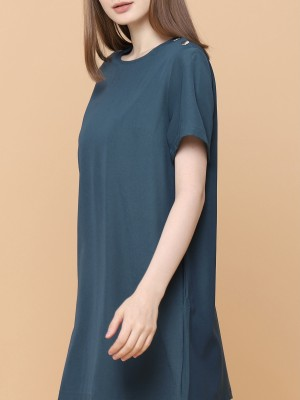 Shoulder Buttom Mini Dress