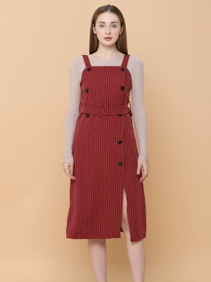 Stripes With Double Button Pinafore