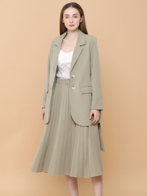 2 Pcs Set Blazer With Pleated Skirt And Belt