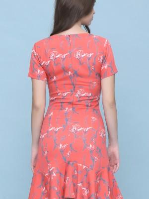 Flower Print Ruffles Dedge Dress