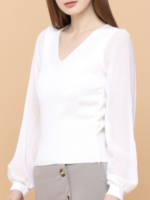 Chiffon Sleeves Knitted Combi Top