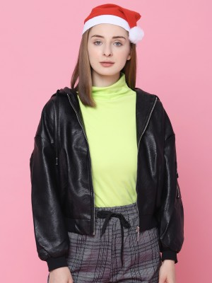 Faux Leather Hoodie Bomber Jacket