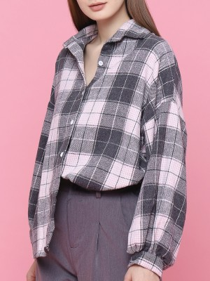 Oversized Sleeves Checkered Shirt