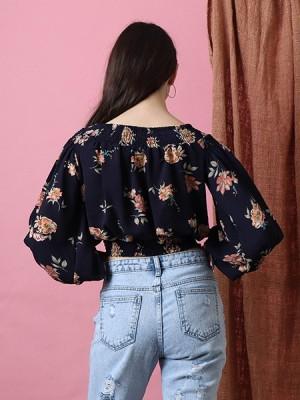 Off Shoulder Flower Print Top