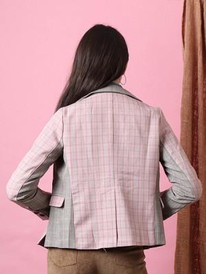 Cottage Core Panel Checkered Color Blazer