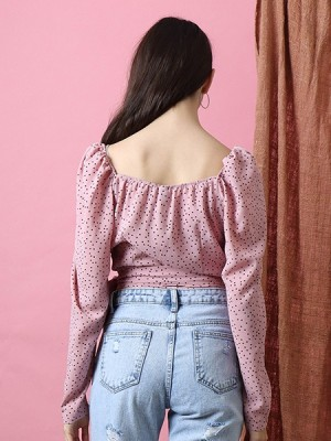 Cottage Core Dispersed Dots Pinches Sleeves Top