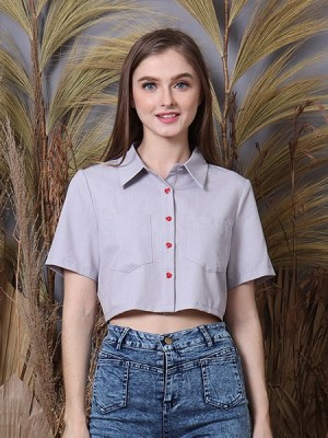 Cottage Core Heart Button Semi Crop Shirt