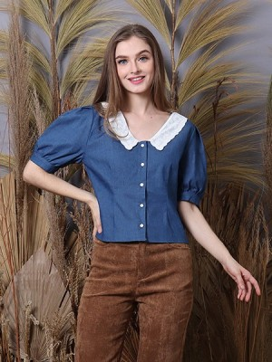 Cottage Core Embroidered Collar Denim Shirt