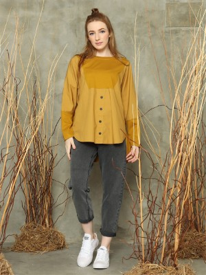 L/Slv front button oversized top