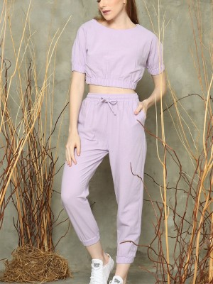 2-pieces set crop top and jogger pants