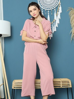 Cottage Core 2 Sets Peter Pan Collar Top With Pants