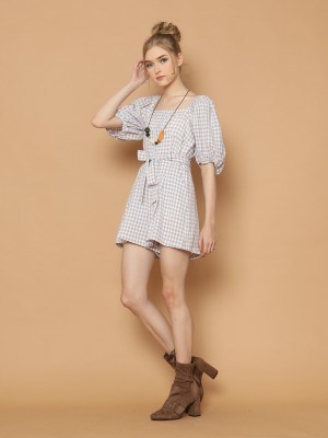 Gingham Puff Sleeves Playsuit