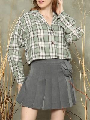 Checkered blazer cut crop top