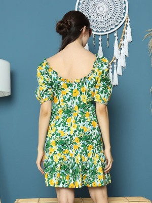 Cottage Core Daisy Flower Print Mini Dress