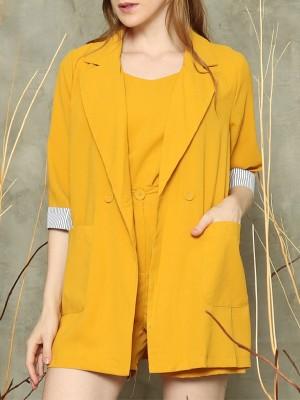 3-pieces set sleeves stripes blazer/camisole/bottom