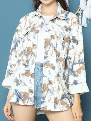 Cottage Core Tie Dyed Denim Washed Jacket Shirt