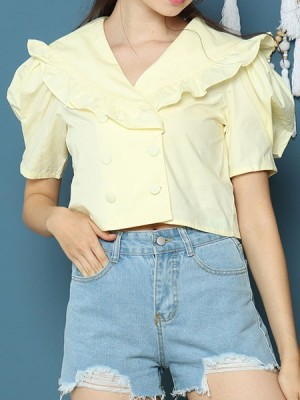 Cottage Core Ruffles Edge Collar Double Button Semi Crop Top