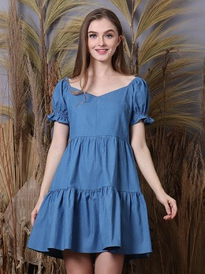 Cottage Core Layer Hearth Neckline Mini Denim Dress
