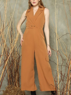 Double breasted sleeveless jumpsuit