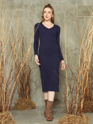V neck L/Slv maxi dress