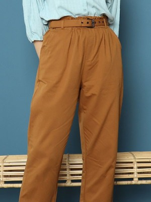 Cottage Core Cigarettes Pants With Mathing Color Belt
