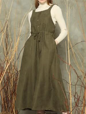 Waist-tie sleeveless dress