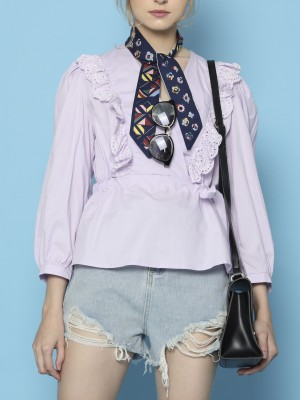 Overlap Side Tied Lace Edge Top