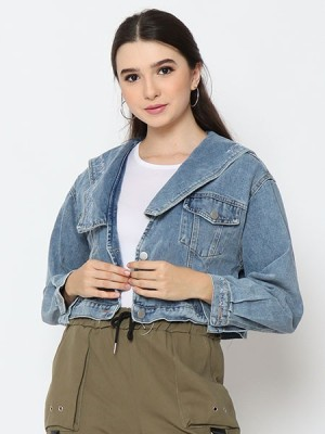 Cottage Core Flap Collars Semi Crop Denim Jacket