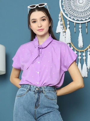 Cottage Core Wide Flap Collar Dots Shirts