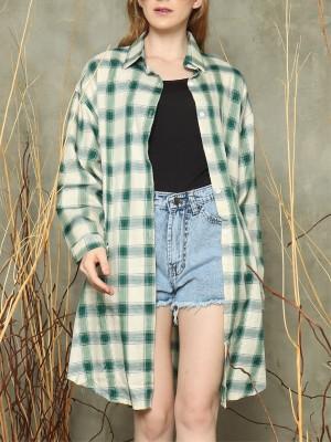 L/slv checkered Long shirt