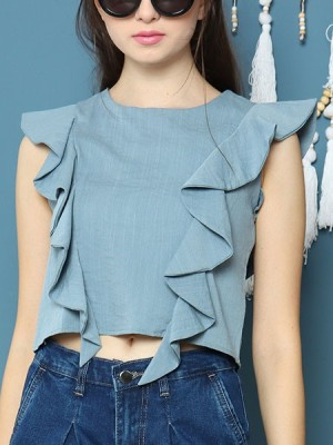 Cottage Core Ruffles Side Semi Crop Top