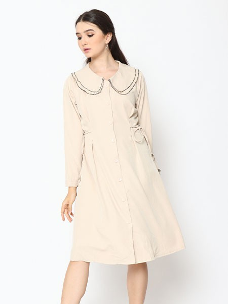 Cottage Core Double Collar Midi Dress