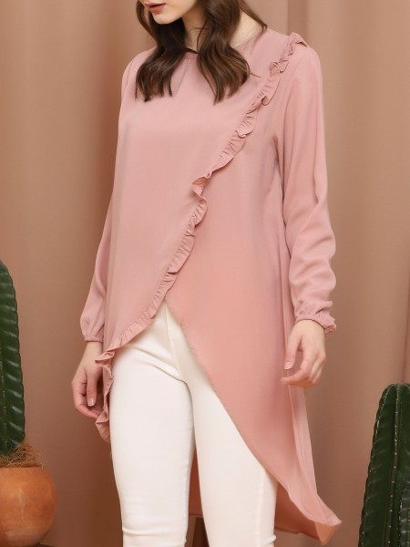 Front Slit Asymetric Ruffle Long Sleeve Long Top