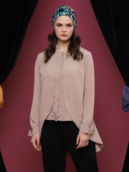 Double-Layered Long Sleeve Button Up Mermaid Top