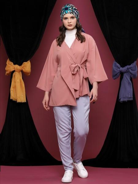 Side-Tie Kimono Layer Long Sleeveless Top