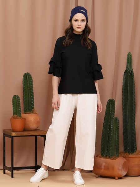 High Neck Tiered-Sleeves Top