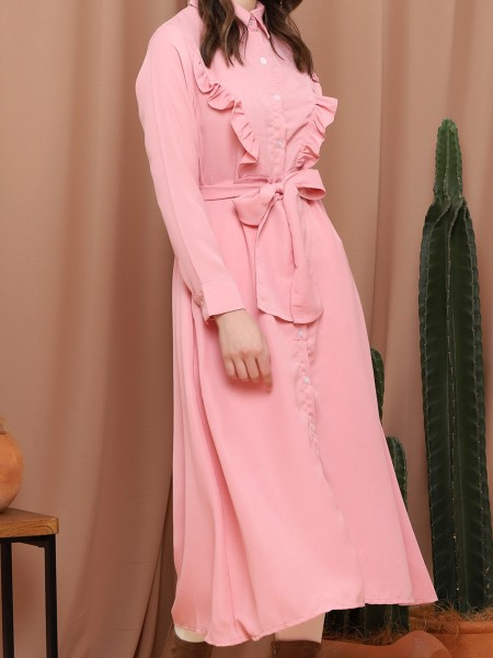 Front Ruffle Button-Up With Belt Maxi Dress