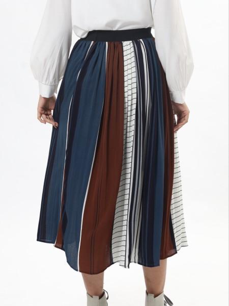 C-Bt Leb Prints And Tones Pleated Skirt