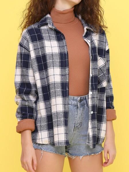 one side pocket checkered shirt