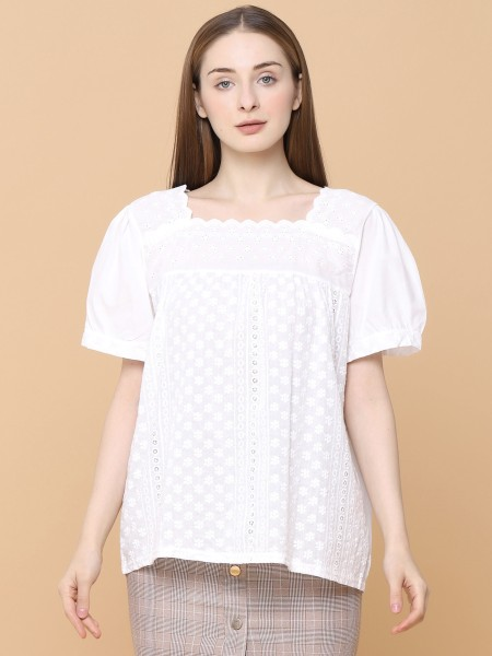 Square Neckline Embroidered Cottage Top